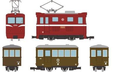 [玩具共和國] 4543736315476 ナローゲージ80 猫屋線直通用路面電気機関車+客車 2両