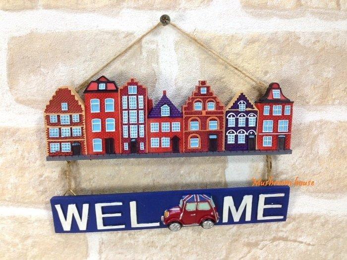 點點蘑菇屋 英國國旗MINI Cooper歐洲街景歡迎牌掛飾 Welcome門牌 壁飾 吊飾 田園風 鄉村風雜貨 現貨