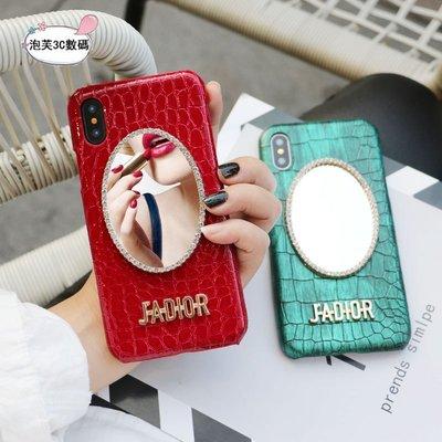 《泡芙》 iPhone x 8 7 6s Plus 欧美潮牌 复古鳄鱼纹 皮质 电镀字母 奢华时尚 防摔抗震 保护套