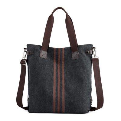 肩背包帆布手提包-條紋托特包大容量通勤女包包5色73wa47[獨家進口][米蘭精品]