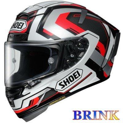 《鼎鴻》SHOEI全罩式頂級選手彩繪安全帽X-14 BRINK TC-5 黑白