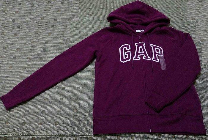 全新【Gap】女裝| Logo舒適拉鏈連帽休閒上衣紫紅色(M)