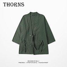 【THORNS】港風原創日系復古道袍中國風漢服棉麻中袖和服潮男七分袖開衫情侶