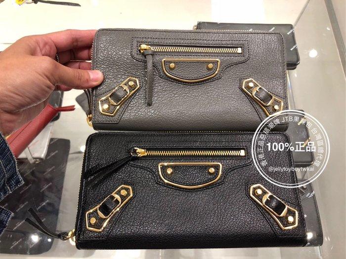 全新正品 Balenciaga 巴黎世家 潮流 390187 灰色 山羊皮金屬邊 機車包 長夾 全拉鏈長夾L V發財包