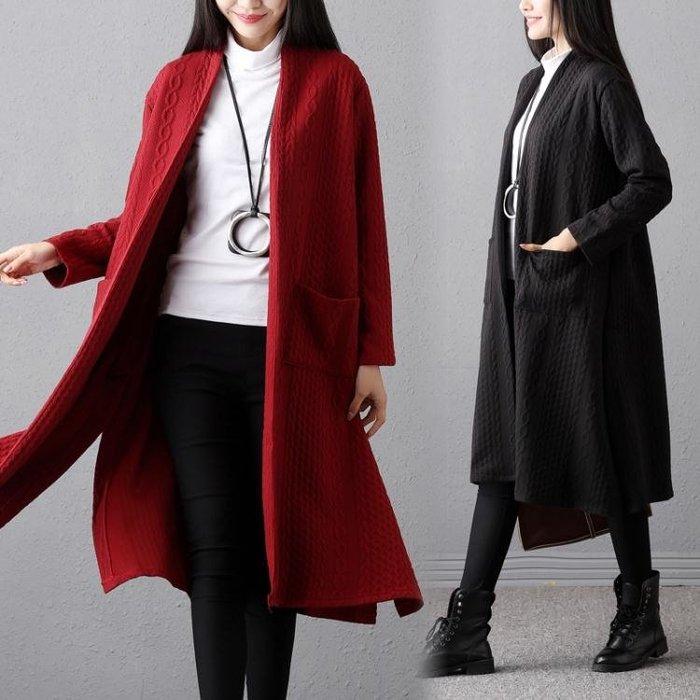長版大衣 女秋冬裝大碼夾絲綿外套女加厚文藝袖風衣開衫外套-小精靈