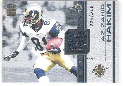 2001 CROWN ROYALE Game Worn Jersey AZ-ZAHIR HAKIM  限量球衣卡