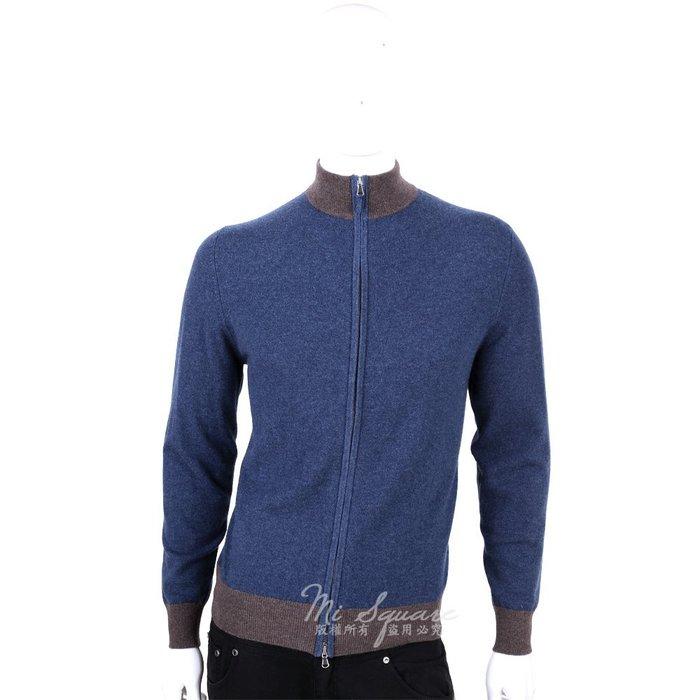 米蘭廣場 ALLUDE 100% CASHMERE 拼接設計拉鍊外套(藍X咖) 1440548-34