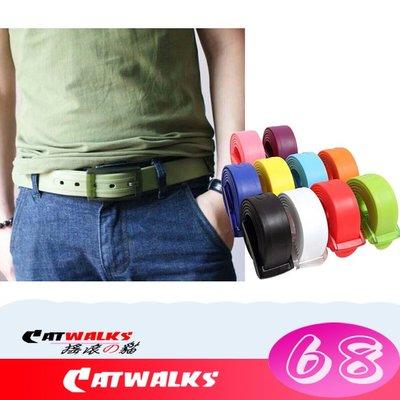 台灣現貨 Catwalks- 糖果色舒適防過敏無金屬可快速通關塑料扣頭矽膠腰帶 14色可選