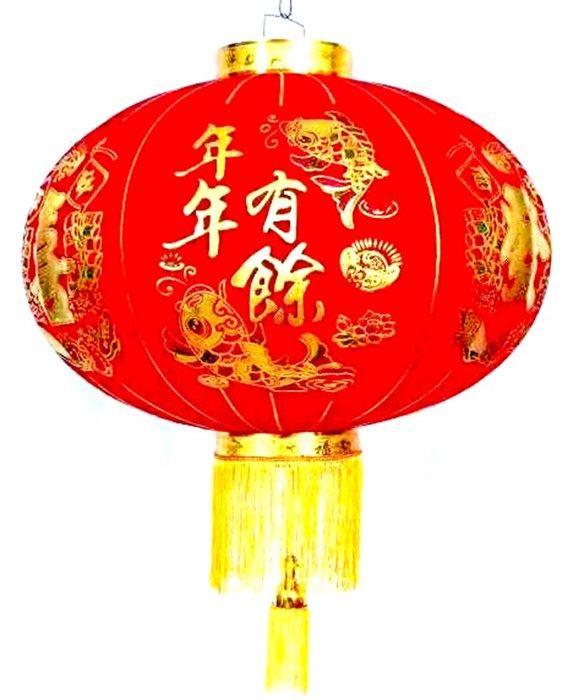 【洋洋小品高級絨布燈籠#60-40CM-2入年年有餘】恭喜發財春聯批發零售過年燈籠大紅高高掛豬年飾品大型佈置圓型燈籠