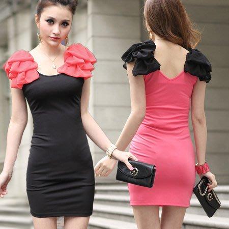 ※現貨 肩花無袖修身連身裙 合身小洋裝伴娘禮服 2色 M碼【Z422190】