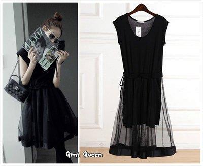 Q朵米-薄紗收腰無袖洋裝 A字洋裝 拼接網紗蕾絲裙 打底裙 連衣裙 長裙(五色)