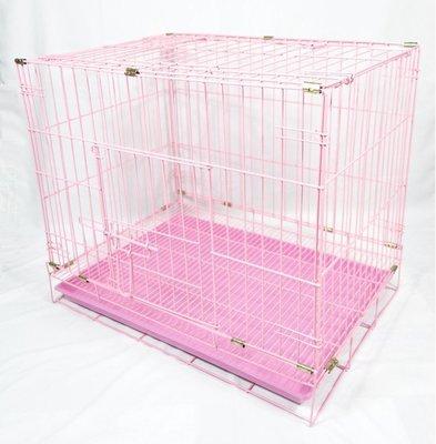 【優比寵物】2尺雙門(美式門栓)《粉紅色》密底腳踏網活動摺疊式/折疊式靜電粉體烤漆貓籠/狗籠/兔籠/寵物籠-台灣製造