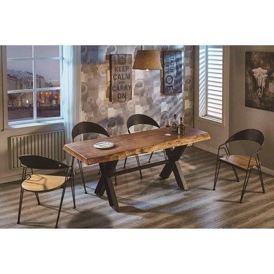 工業風厚板原木餐桌