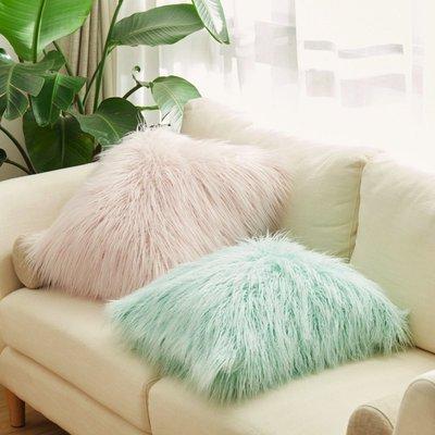 出口甜美絨毛抱枕公主仿灘羊毛坐墊沙發靠枕汽車護腰裝飾靠墊含芯