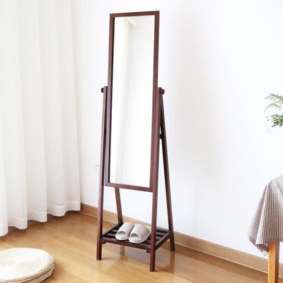 歐式全實木質全身穿衣鏡 落地收納試衣鏡 化妝鏡子 棕色 160