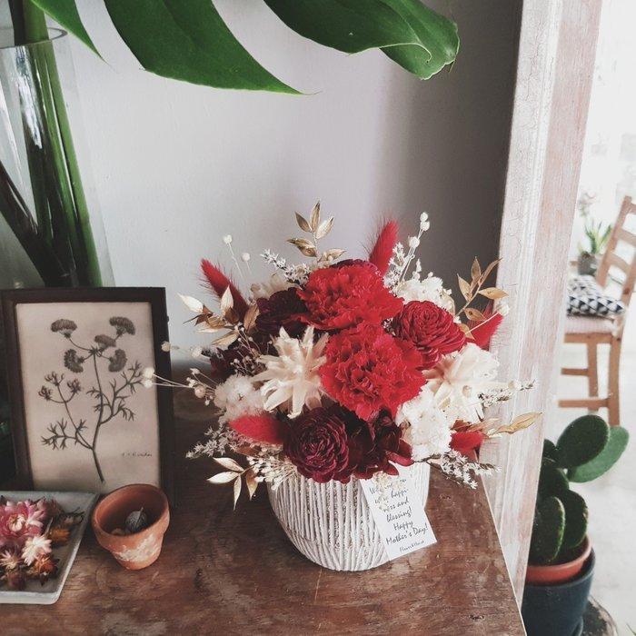 永生花+乾燥花|Love媽咪|母親節紅色康乃馨盆花|全省宅配歡迎自取【Flower&House花藝之家】
