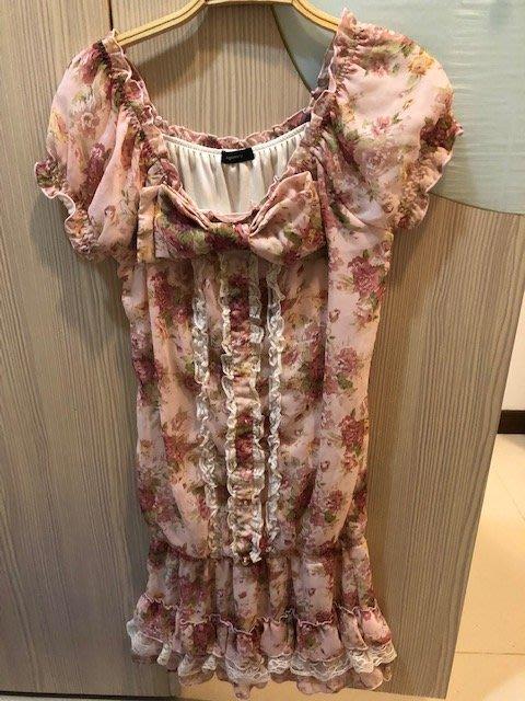小花別針、專櫃日系品牌【AGRIMONY】粉色蕾絲碎花短袖洋裝連身裙