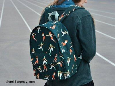 HAPPY+【V5313】yizi新款包包預售 創意印花帆布包雙肩包 文藝範休閑女包 無印良品