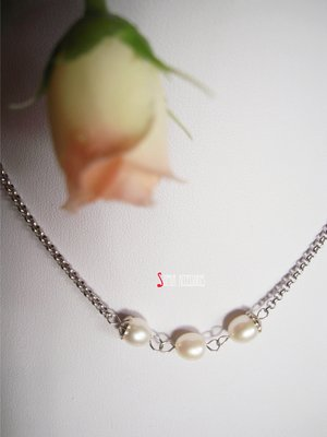 Sophia accessories 【 圓 舞 曲 】天然珍珠鈦鋼項鍊  手作&私飾 輕珠寶 珍珠 伴娘禮物