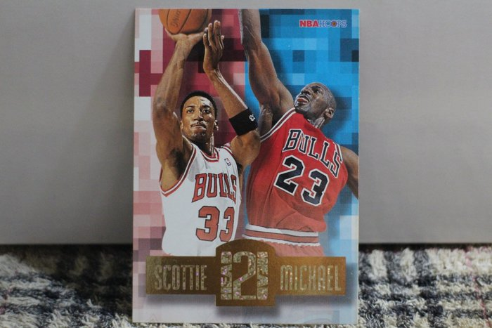 Michael Jordan Scottie Pippen 96-97 Hoops 公牛隊搭檔早期高比例碎鑽特卡no簽名