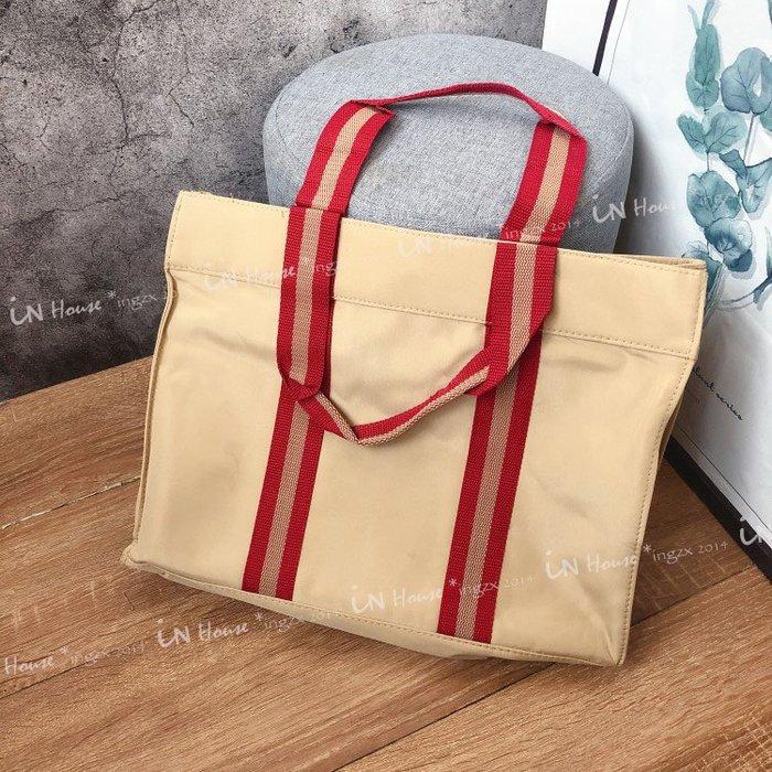 IN House*🇹🇼現貨TOTE 簡約耐看 防水 織帶 尼龍 購物袋 媽媽包 學生 手提袋 收納袋 托特包 書包