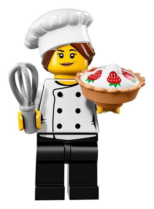 【LEGO 樂高】2017最新 積木/ Minifigures人偶包系列:17代 71018   #3 甜點師傅+草莓派