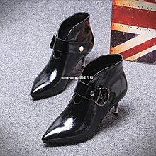 litterluck-韓國專櫃2019秋新款真皮高跟鞋女細跟尖頭鰻魚皮靴子短靴深口中跟單鞋女鞋