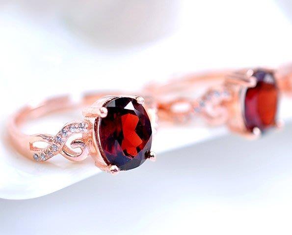 ((瑪奇亞朵的珠寶世界))簡單時尚款 天然A級紅榴石 鑲崁 戒指 送禮好用大器 精緻