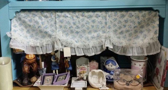 美生活館--全新鄉村風格-滿版藍玫瑰花蕾絲薄紗萬用簾 短門簾/裝飾簾/櫃簾/窗簾90*28m-單只250元