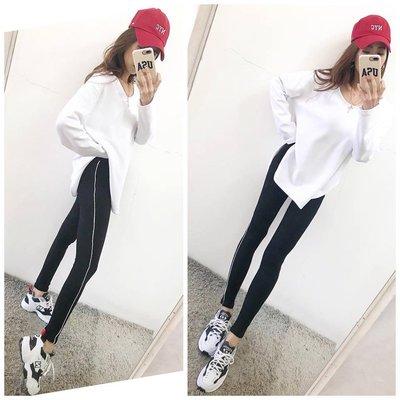OZOBB 012608 質感超舒服高腰側邊白線全長休閒內搭褲
