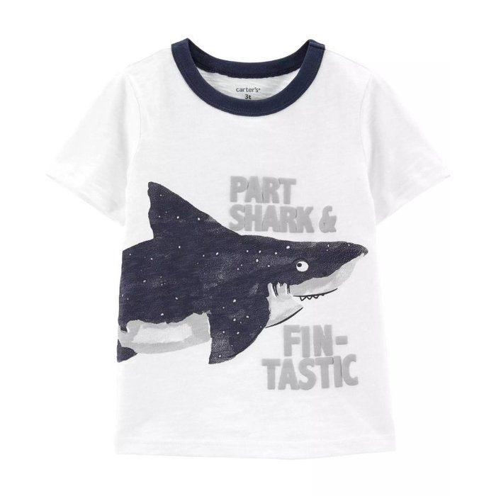【Carter's】CS男童短藍領鯊魚白 F03191003-05