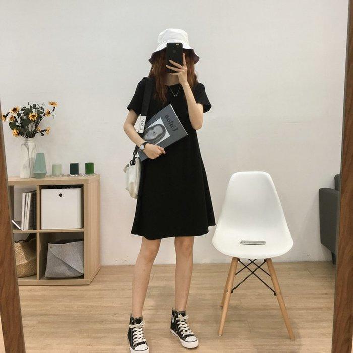 Black Market 實拍韓版百搭小個子寬鬆圓領短袖純色連身裙(預購)