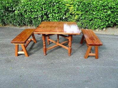 A025 {崙頂傳統原木家具行}~杉木實木小合桌配杉木實木八腳椅1桌4椅《桌面跟桌腳可分開》