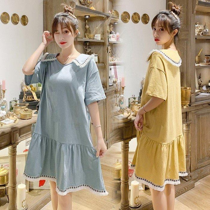 漂亮小媽咪 韓系抽鬚滾邊洋裝 【D8132】民族風 翻領 寬鬆 長裙 孕婦裝 孕婦長洋裝