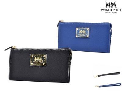 【寧寧精品*台中】WORLD POLO 專櫃正品 藍色 黑色【附可拆式提帶 可放6.5吋手機 手機皮套手拿包】128-2