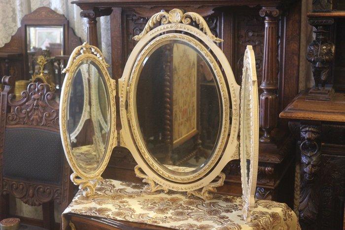 【家與收藏】特價稀有珍藏歐洲古董法國古典華麗精緻巴洛克花卉浮雕三面鏡/桌鏡12