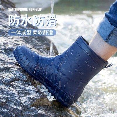 雨鞋時尚中筒雨鞋男潮流外穿防滑防水工作水鞋加厚耐磨廚房高筒雨靴男 快速出貨,九折優惠
