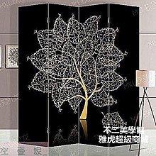 屏風 隔斷  玄關 四扇 雙面 辦公中式防水 金色財運樹 MKL497發財樹開運風水