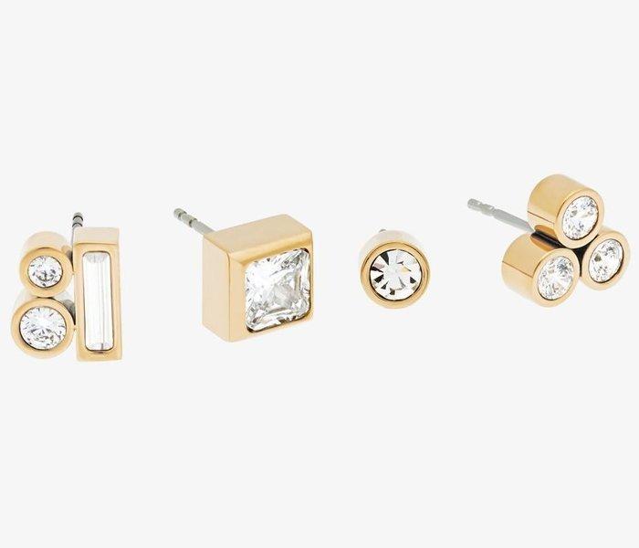 全新美國名牌 Michael Kors MK 金色四顆鑲鑽單耳環,可任意搭配,不鏽鋼材質,附禮盒,低價起標無底價!免運!