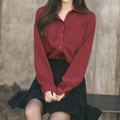 2019春裝韓版酒紅色上衣通勤寬鬆顯瘦垂感純色白色雪紡襯衫女長袖