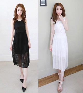 縮腰蕾絲長洋裝(白色)**y151523651 J-11217