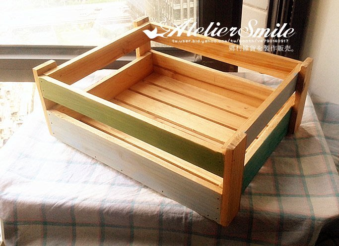 [ Atelier Smile ] 鄉村雜貨 實木 木+綠 拚色托盤收納籃  園藝 花盆箱  (現+預)