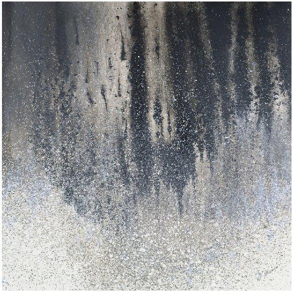 【 LondonEYE 】小法國系列-當代美術館X銀色焰火X金銀箔閃粉訂製抽象畫  現代藝術細邊框豪宅/樣品屋PT188