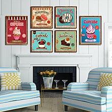 美式複古實木框甜品店咖啡廳餐廳杯子蛋糕掛畫烘焙壁飾現代裝飾畫(7款可選)
