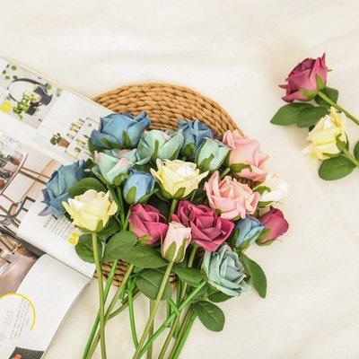 〖洋碼頭〗紫色仿真玫瑰花手工假玫瑰葉子仿真花藍色花束幹花高檔裝飾 sme353