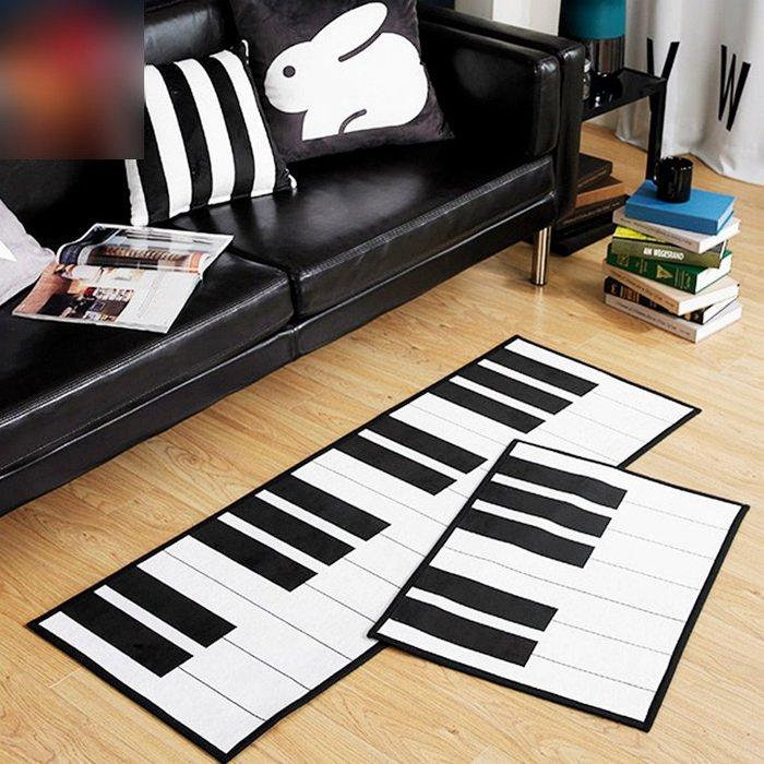 鋼琴地墊-法蘭絨鋼琴地毯 黑白鍵地墊 裝飾腳踏墊 臥室地毯 黑白鍵地毯(45*115cm)_☆找好物FINDGOODS☆