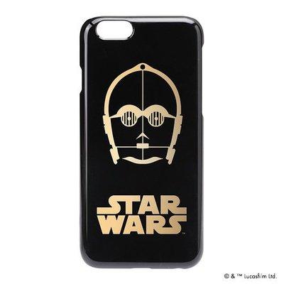 尼德斯Nydus~* 日本正版 迪士尼 星際大戰 硬殼 手機殼 黑底燙金 機器人 C-3PO 4.7吋 iPhone6