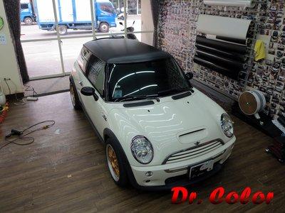 Dr. Color 玩色專業汽車包膜 Mini Cooper S 黑carbon/金屬桃紅/消光黑_車頂/後視鏡/旅行架