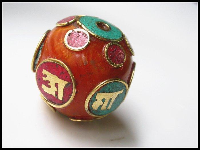 【雅之賞|藏傳|佛教文物】特賣* 尼泊爾手工珠 六字真言轉運珠 佛珠手珠飾品配件~Q1509