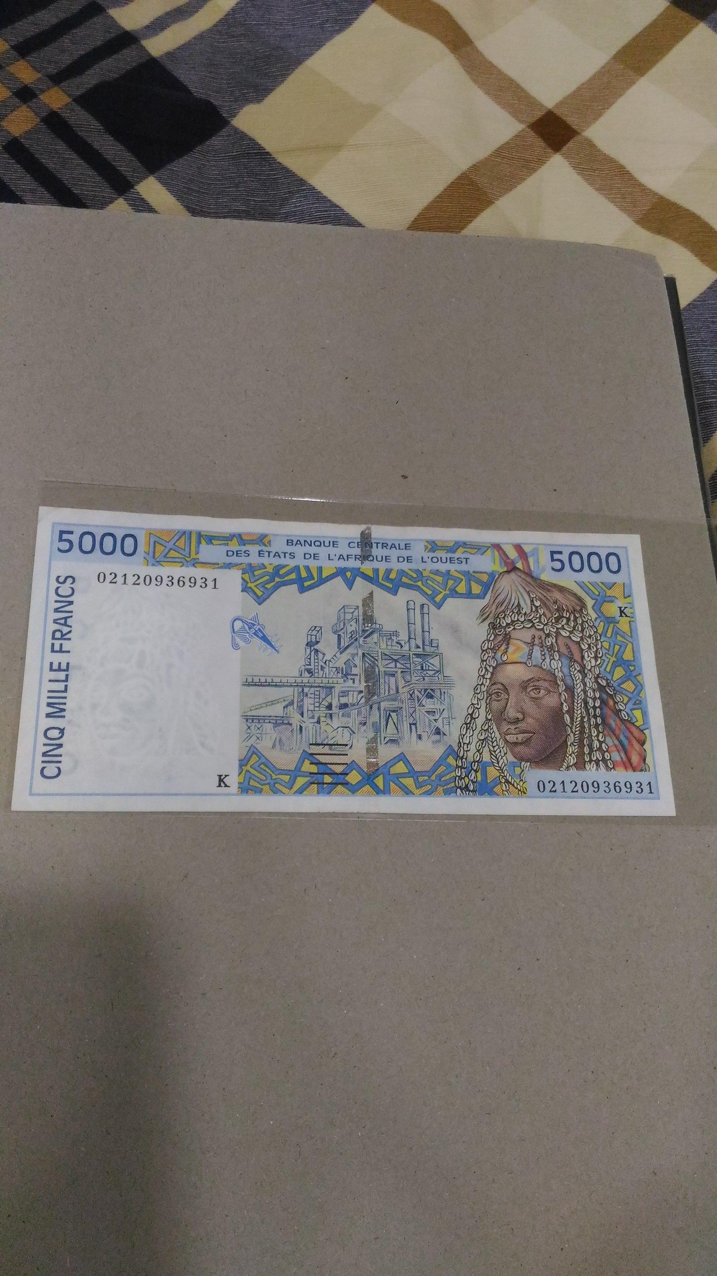 西非(West African States ), 5000法郎 , 1992年, 95成新,早期稀少紙鈔!!